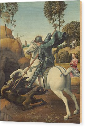 Saint George And The Dragon Wood Print