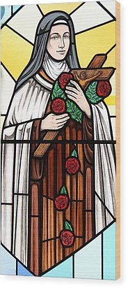 Wood Print featuring the glass art Saint Therese Of Lisieux by Gilroy Stained Glass