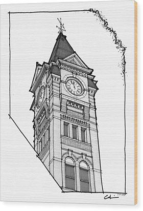 Samford Hall Clock Tower Wood Print by Calvin Durham