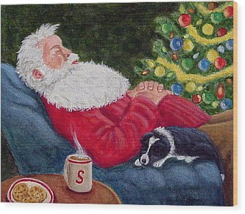 Wood Print featuring the painting Santa And Breagh by Fran Brooks
