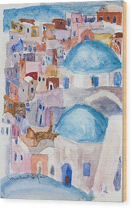 Santorini Splendor Wood Print by Michael Helfen