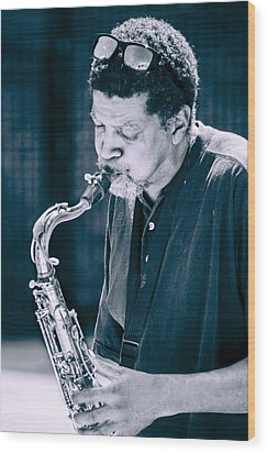 Saxophone Player 2 Wood Print by Carolyn Marshall
