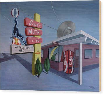 Wood Print featuring the painting Seal's Motel by Sally Banfill