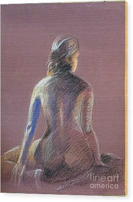 Seated Female Model Wood Print