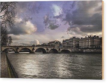 Sena River In Paris After Storm Wood Print
