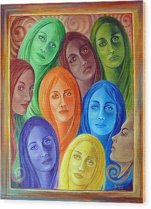 Serene Sisters Wood Print by Sylvia Kula