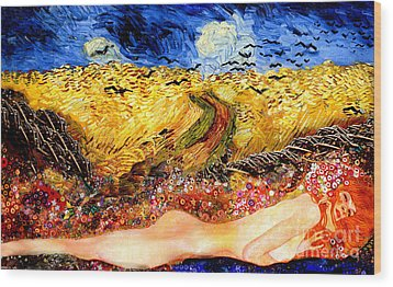 Serpent In Wheatfield Wood Print