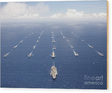 Ships And Submarines Participating Wood Print by Stocktrek Images