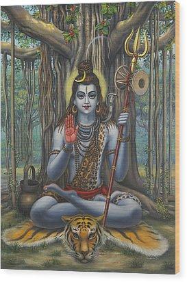 Shiva Wood Print by Vrindavan Das