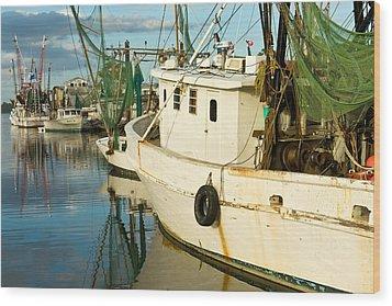 Shrimp Boats Wood Print by Denis Lemay