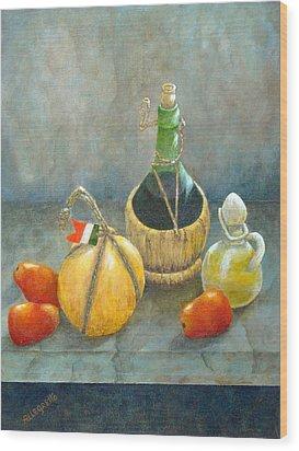 Sicilian Table Wood Print by Pamela Allegretto