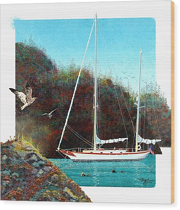 Silent Anchorage Wood Print by David  Chapple