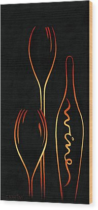 Simply Wine Wood Print by Sandi Whetzel