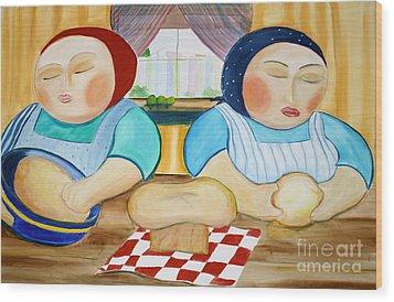 Sisters Baking Wood Print by Teresa Hutto