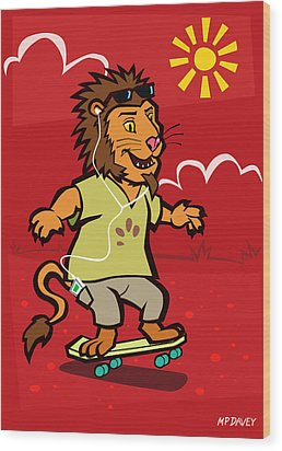 skateboarding Lion  Wood Print by Martin Davey