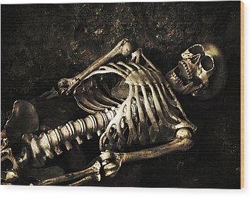 Skeleton  Wood Print by Amanda Elwell