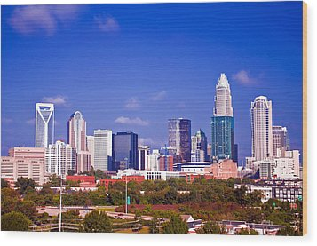 Skyline Of Uptown Charlotte North Carolina At Night Wood Print by Alex Grichenko