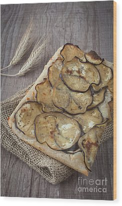 Sliced Pizza With Eggplants Wood Print by Sabino Parente