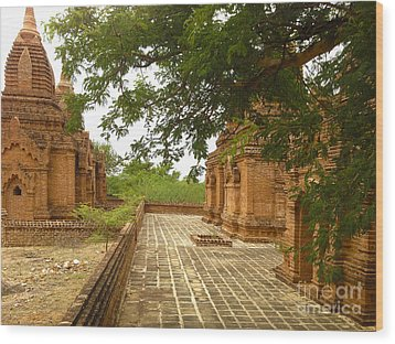 Wood Print featuring the photograph Smaller Temples Next To Dhammayazika Pagoda Built In 1196 By King Narapatisithu Bagan Burma by Ralph A  Ledergerber-Photography
