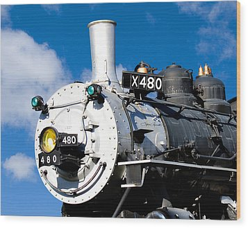 Smiling Locomotive Wood Print