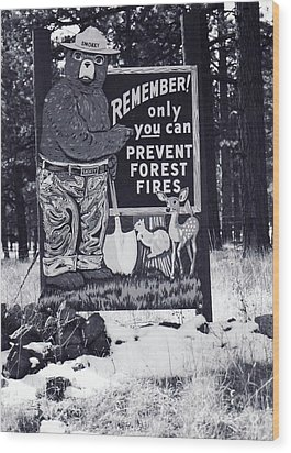 Wood Print featuring the photograph Smokey The Bear by Juls Adams