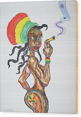 Smoking Rasta Girl Wood Print by Stormm Bradshaw