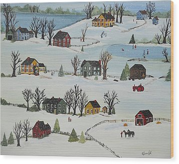 Snow Day Wood Print by Virginia Coyle