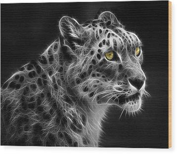 Wood Print featuring the digital art Snow Leopard by Nina Bradica