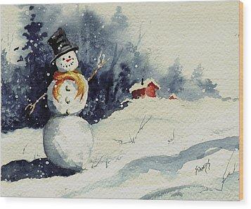 Snowman Wood Print by Sam Sidders