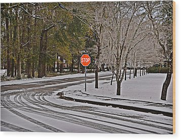 Wood Print featuring the photograph Snowy Street by Linda Brown