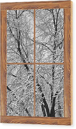 Snowy Tree Branches Barn Wood Picture Window Frame View Wood Print by James BO  Insogna