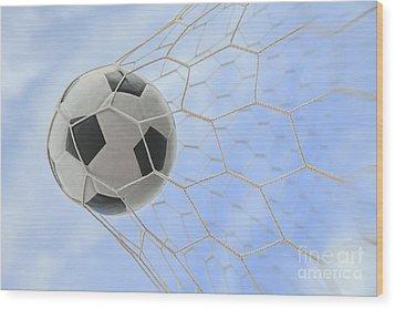 Soccer Ball In Goal Wood Print by Anek Suwannaphoom