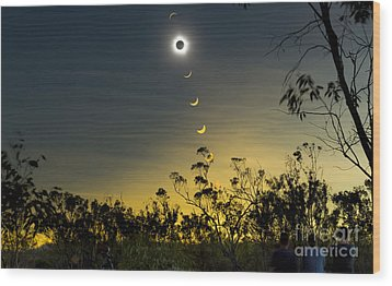 Solar Eclipse Composite, Queensland Wood Print by Philip Hart