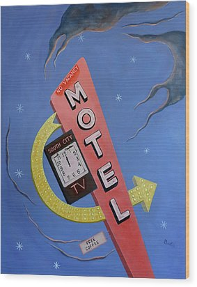 Wood Print featuring the painting South City Motel by Sally Banfill