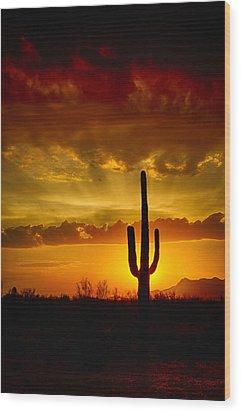 Southwestern Style Sunset  Wood Print by Saija  Lehtonen