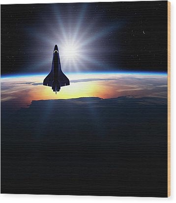 Space Shuttle In Orbit Wood Print by Detlev Van Ravenswaay