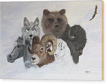 Spirit Totems Wood Print by Judy M Watts-Rohanna