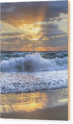 Splash Sunrise Wood Print by Debra and Dave Vanderlaan