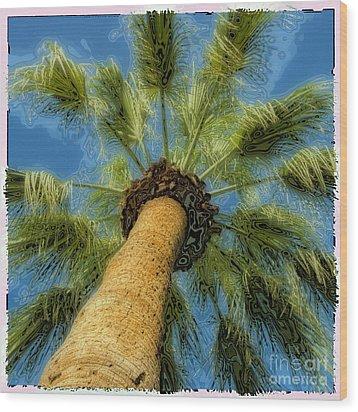 Square Polaroid Palm Tree Wood Print by Birgit Tyrrell
