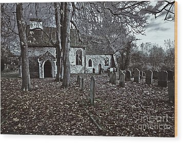 St Margaret Of Antiochs Church Linstead Wood Print by Darren Burroughs