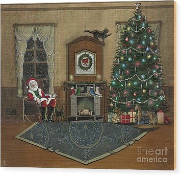 St. Nicholas Sitting In A Chair On Christmas Eve Wood Print by John Lyes