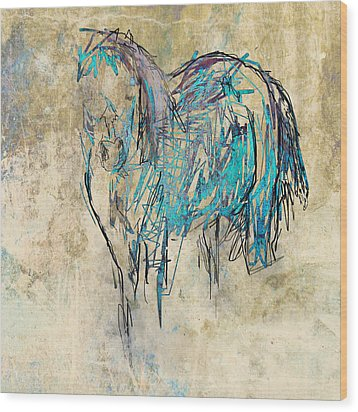 Standing Horse Wood Print by Suzanne Powers