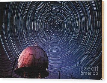 Star Trails And Radar Globe Wood Print by Eszter Kovacs