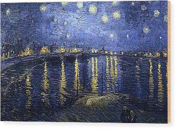 Wood Print featuring the painting Starry Night Over The Rhone by Vincent Van Gogh