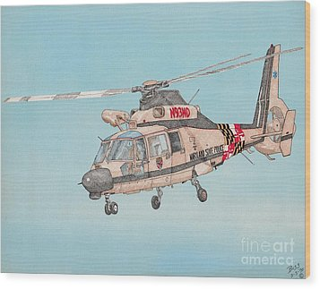State Police Helicopter Wood Print by Calvert Koerber