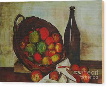 Still Life With Apples After Cezanne - Painting Wood Print by Veronica Rickard