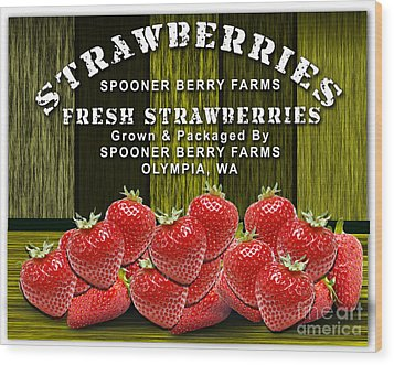 Strawberry Farm Wood Print