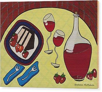 Strawberry Wine Wood Print by Barbara McMahon