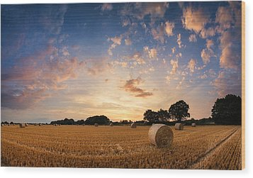 Stunning Summer Landscape Of Hay Bales In Field At Sunset Wood Print by Matthew Gibson