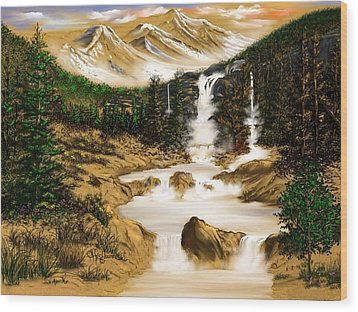 Wood Print featuring the digital art Summer Evening Glow by Anthony Fishburne
